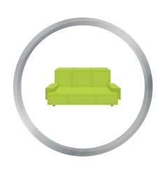 Green couch icon in cartoon style isolated on vector image