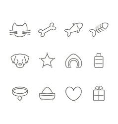 Pets line icons set vector image