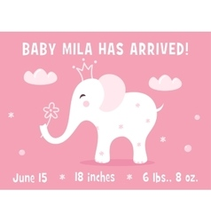 White Baby Elephant Birth Announcement Card vector image vector image