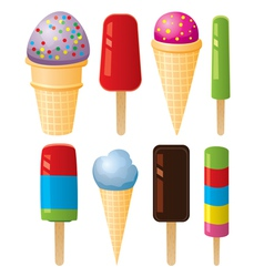 colorful icecream and popsicles vector image