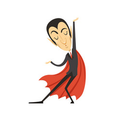 count dracula dancing vampire in suit and red vector image
