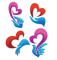 love in my heart collection of symbols vector image vector image