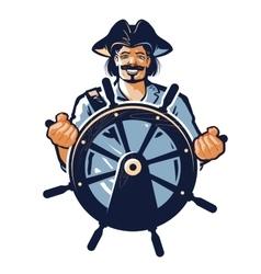 Pirate logo corsair or captain sailor vector