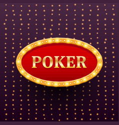 poker luxury retro banner template with glowing vector image vector image