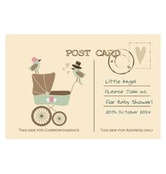 Vintage cute baby shower greeting postcard vector image