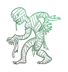 With scary mummy halloween costume vector