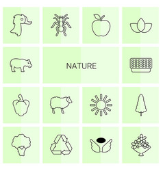 14 nature icons vector