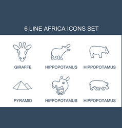 6 africa icons vector