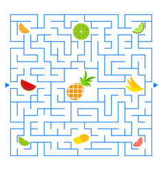 Abstract colored complex isolated maze with fruit vector