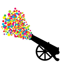 abstract with cannon silhouette and colored vector image