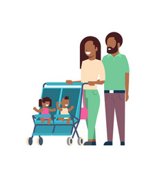 african father mother baby twins double stroller vector image