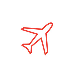 Airplane line icon on black background black flat vector