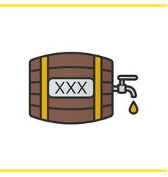 alcohol wooden barrel color icon vector image