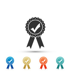 approved or certified medal with check mark ribbon vector image