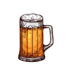 Beer in mug with foam alcohol drink vector