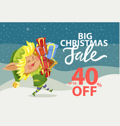 Big christmas sale elf carry boxes with gifts vector