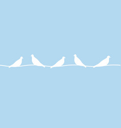 birds on wires blue background with birds circuit vector image