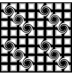 Black and white checkered pattern with swirls vector