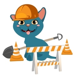 Blue cartoon kitten in cap and with shovel vector