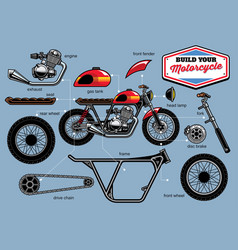 Build your cafe racer concept with separated parts vector
