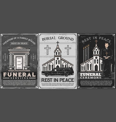 Burial service crypt on cemetery church priest vector