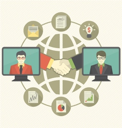 Business Cooperation Concept with Gray Globe vector image