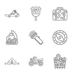 Campground icons set outline style vector