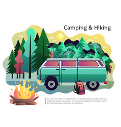 Camping hiking poster vector