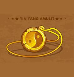 Cartoon golden circle old amulet yin yang vector
