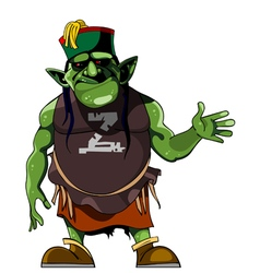 cartoon green humanlike monster in clothing vector image