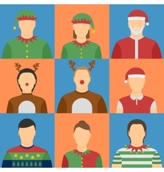 Christmas avatars set vector image