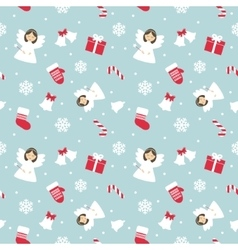Christmas Seamless Pattern with Angel vector