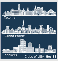 cities usa - yonkers grand prairie tacoma vector image