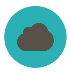 Cloud flat grey and cyan colors round button vector