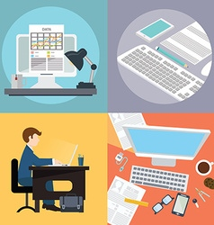 collection flat and office work freelancer vector image