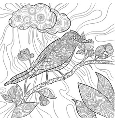 coloring pages bird wild flying animal in sitting vector image