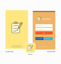 Company clipboard splash screen and login page vector