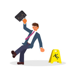 concept of the man slipped and wet floor sign vector image