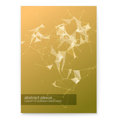 cover with abstract technology plexus shapes 3d vector image