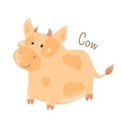 Cow isolated Domestic pets Sticker for kids vector image