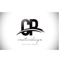 cp c p letter logo design with swoosh and black vector image