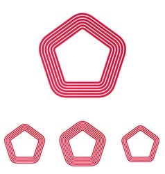 Crimson line pentagon logo design set vector