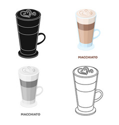 cup of coffee macchiato with foam different types vector image