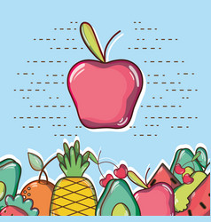 Delicious and fresh tropical apple vector