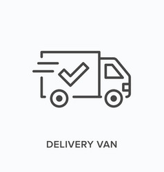 delivery van line icon outline vector image