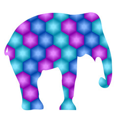 elephant silhouette abstraction of hexagons in vector image