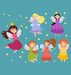 fairy princess adorable characters imagination vector image