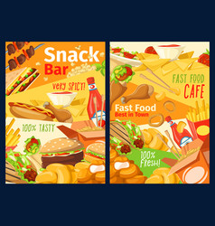 fast food snacks sandwiches and burgers menu vector image