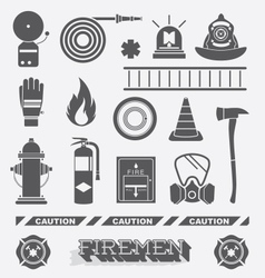 Firefighter Flat Icons and Symbols vector
