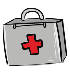 first aid kit color on white background vector image